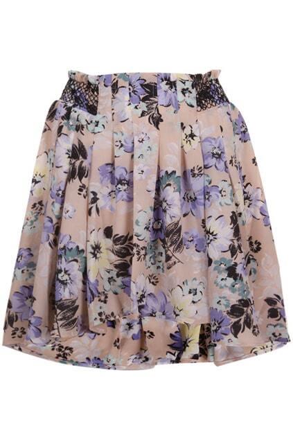 Flower Print Pink Skirt