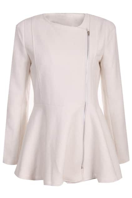 Oblique Zippered White Woolen Coat