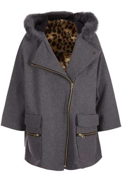 Zippered Grey Woolen Coat
