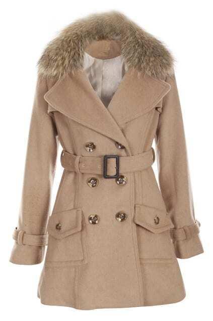 Belted Khaki Woolen Coat