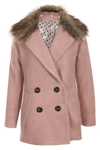 Double-breasted Pink Woolen Coat