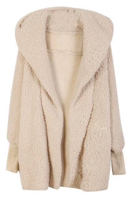 Hooded Cream Woolen Coat