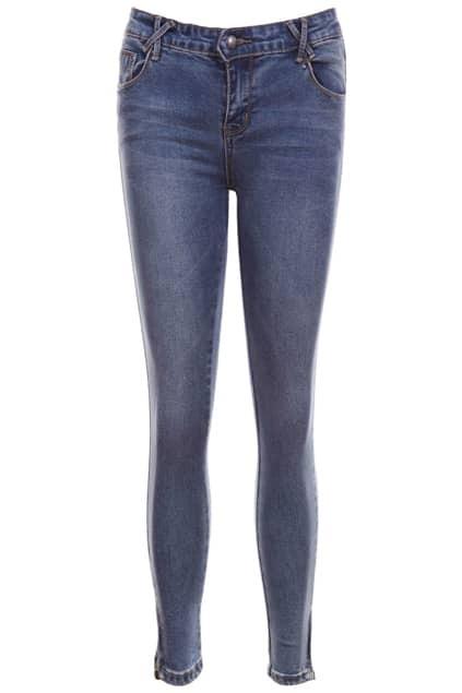 Zippered Blue Skinny Jeans