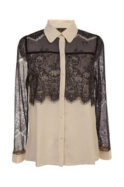 Hollow Color Block Lace Shirt