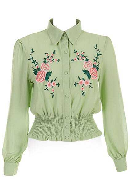 Retro Floral Print Front Green Shirt