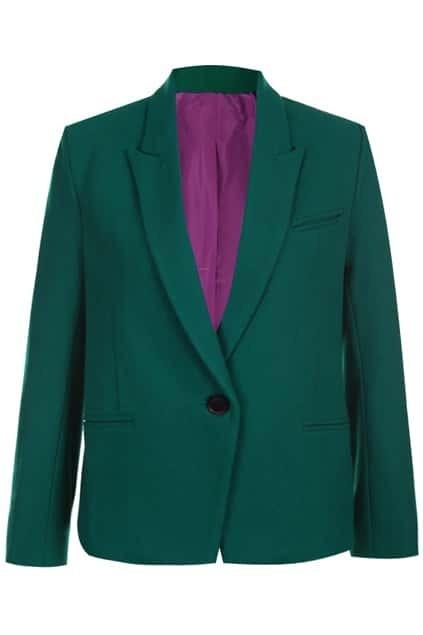 Retro Buttoned Green Blazer
