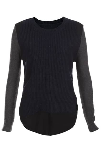 Fake Double-layers Dark-blue Jumper