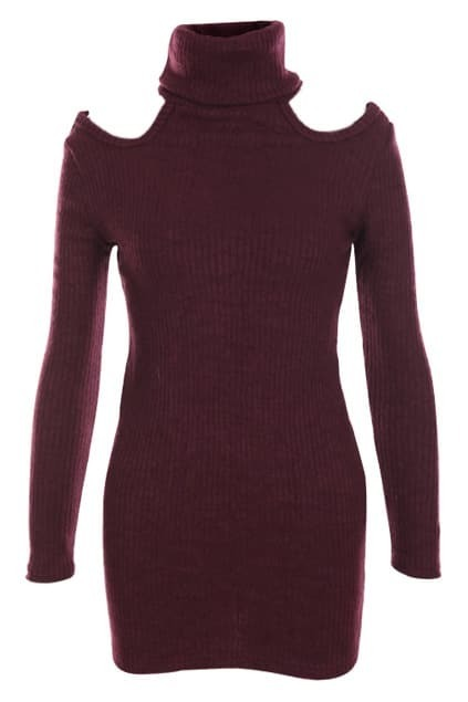 Off-shoulder Dark-red Jumper