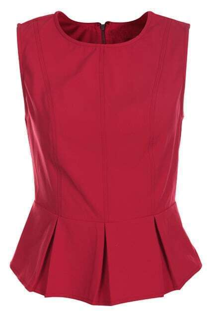 Zippered Sleeveless Red Vest