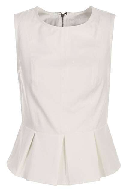 Zippered Sleeveless White Vest