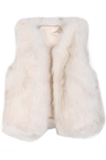 Buttonless Faux Fur White Vest