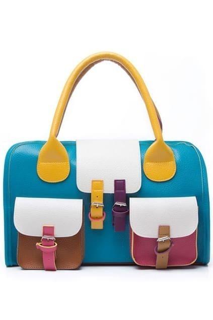 Mixed Candy colour Patchwork Shoulder Bag