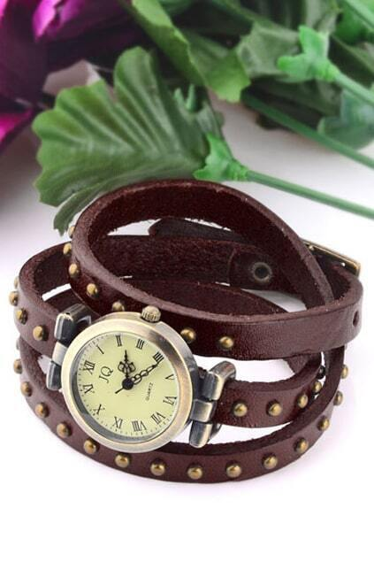 Antique Faux Fur Studded Watch