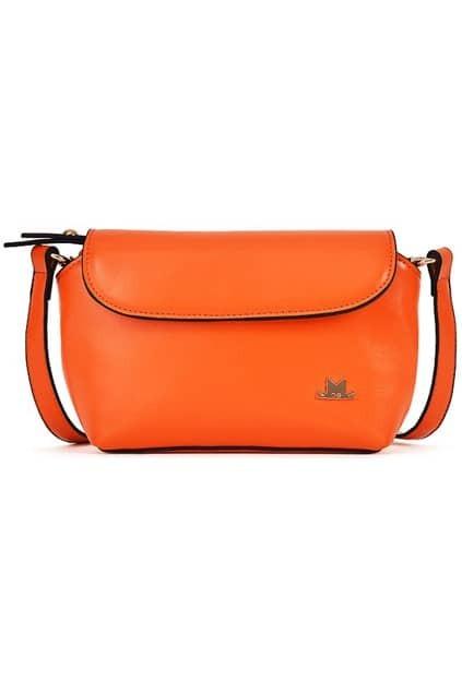Flapped Pochette Orange Shoulder Bag