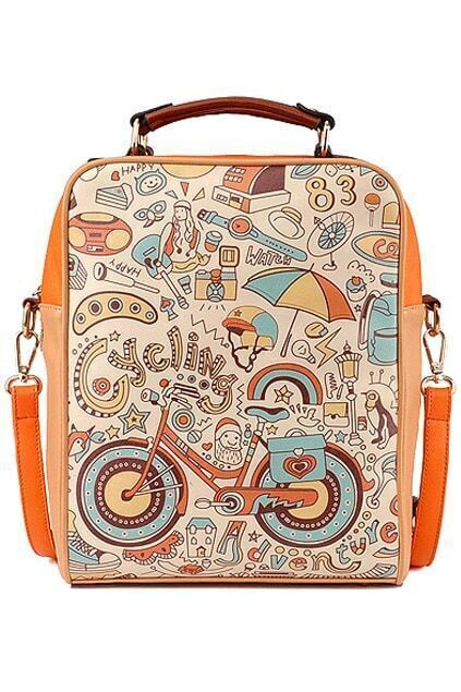 Cycling Adventure Orange Backpack