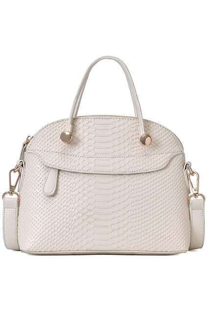 Crocodile Ivory White Shoulder Bag