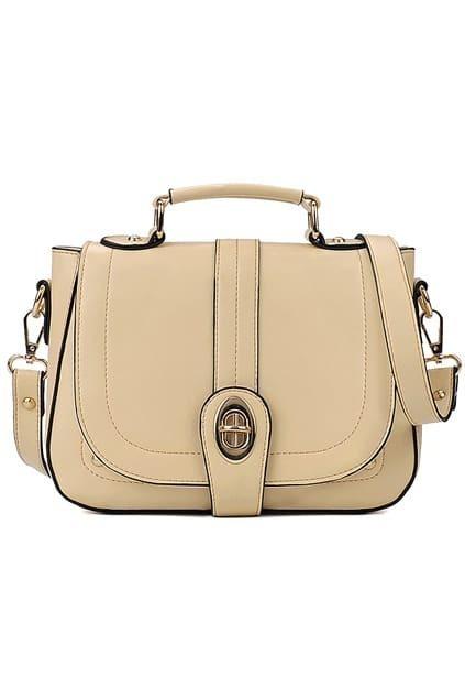 Retro Rivet Flapped Cream Shoulder Bag