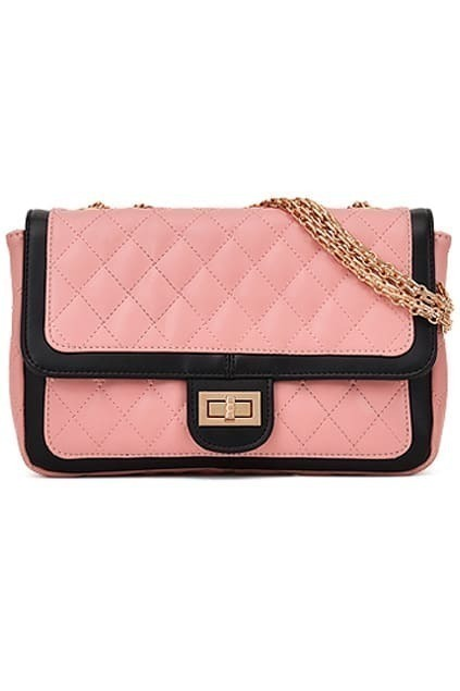 Quilted Chain Pink Shoulder Bag