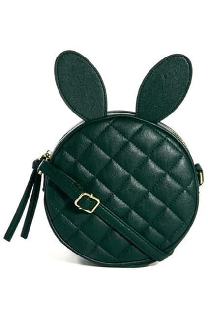 Diamond Shape Rabbit Hair Green Bag