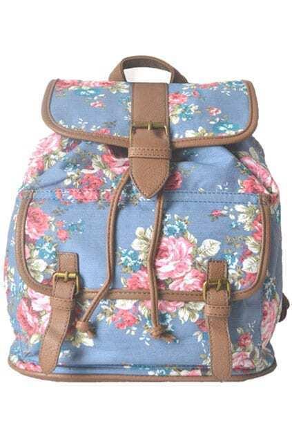 Rose Strap Blue Backpack