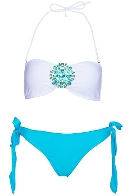 Jeweled White Bandeau Top with Coral Frill Bottom Bikini