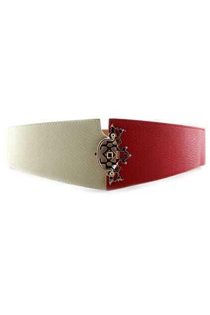Color Block Wide Waist Belt