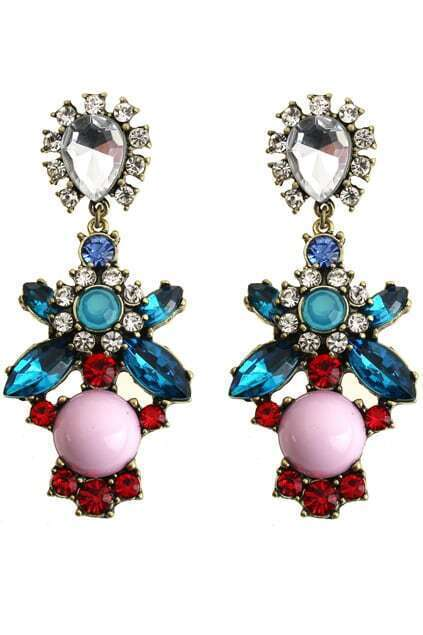 Cut-out Diamante Floral Earrings