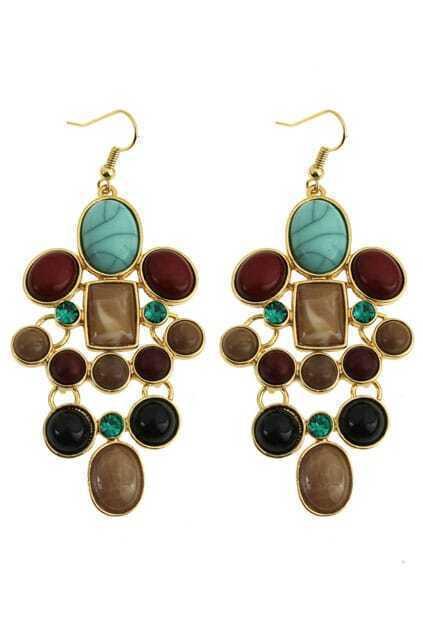 Turquoise Diamante Pendant Earrings