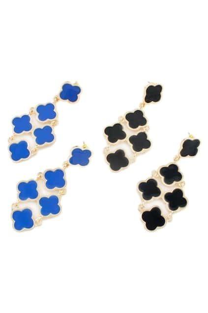 ROMWE Cut-out Plum Blossom Pendant Earrings