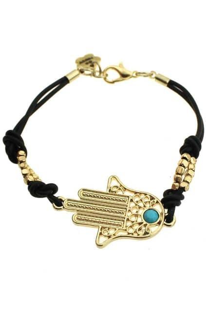 Golden Hand Shaped Pendant Bracelet