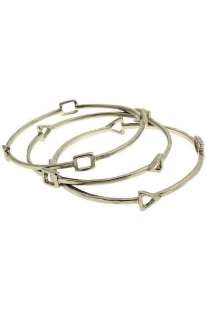 Pack of Three Triangle & Square Shaped Bracelet