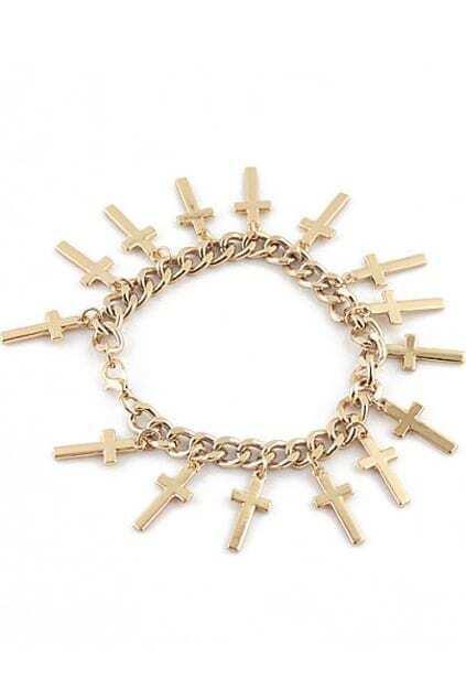 Cross Pendant Curb Chain Bracelet