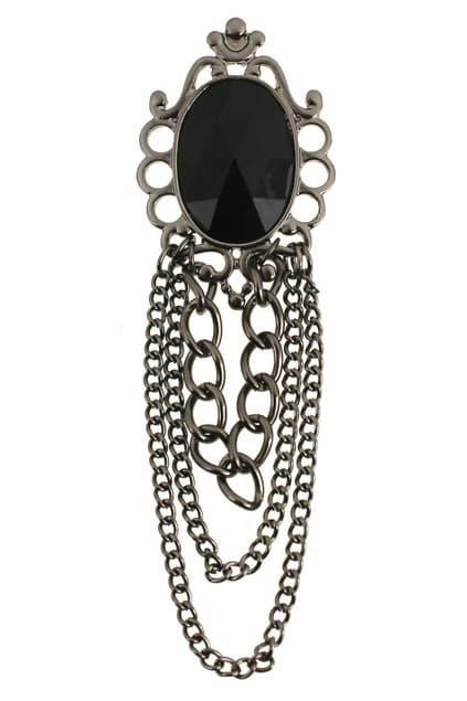 Retro Black Diamante Brooch