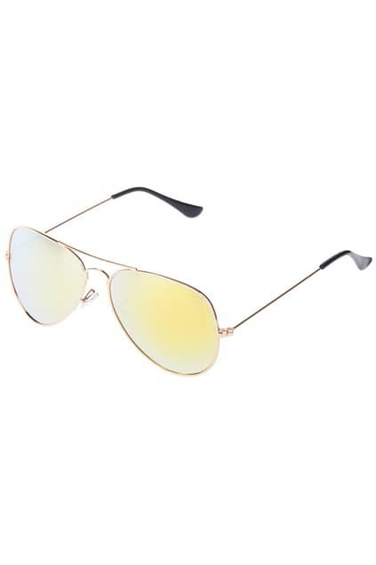 Aviator Sunglasses With Yellow Revo Lens