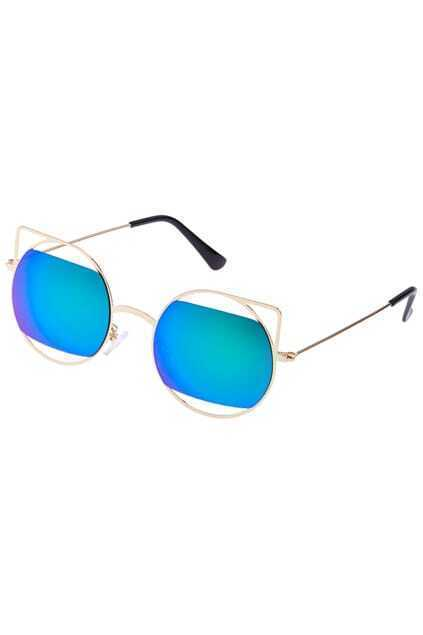ROMWE Iridescent Green Metal Sunglasses