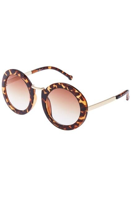 ROMWE Leopard Round Sunglasses