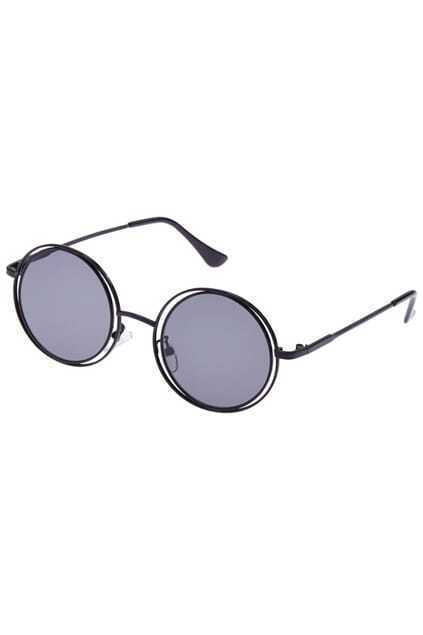 ROMWE Slim Black Round Sunglasses