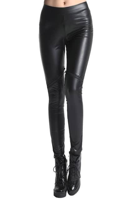 ROMWE Zippered Laps Black Fake Leather Leggings