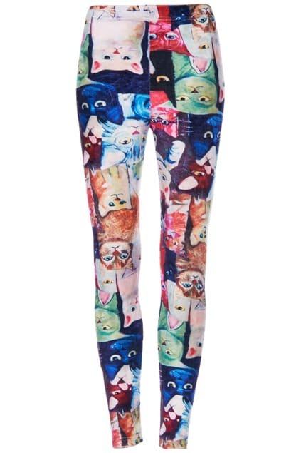 ROMWE Various Multicolor Cat Print Velvet Leggings
