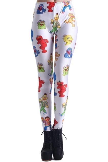 ROMWE Sesame Street Characters Print White Leggings