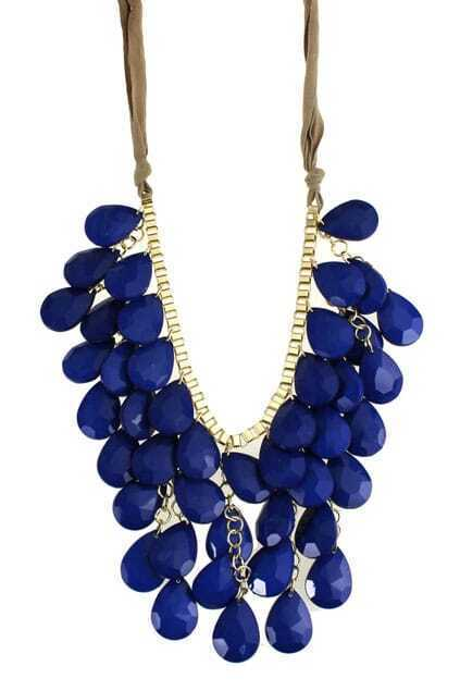 Blue Water Drop Shaped Pendants Necklace