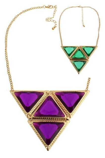 Linked Diamante Triangle Pendant Necklace