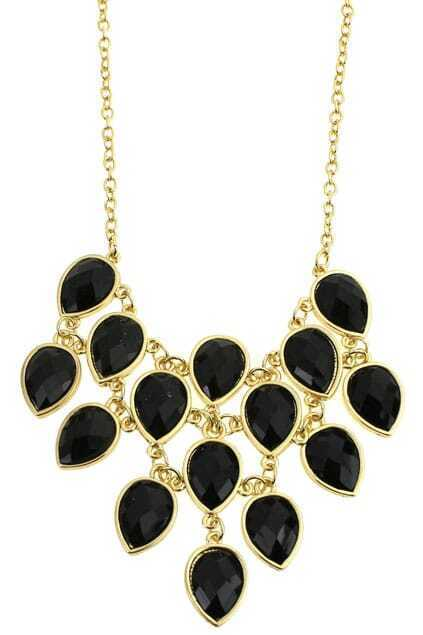 Linked Black Diamante Pendant Necklace