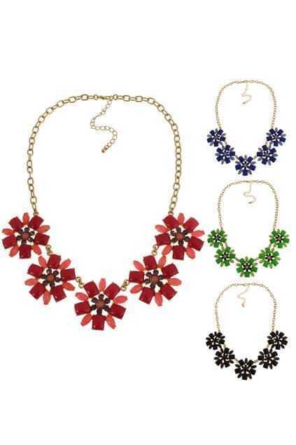 Five Floral Pendant Necklace