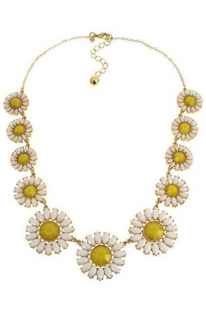 Faceted Stone Sunflower Necklace
