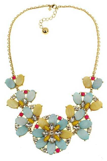 Diamante Flower Pendant Necklace