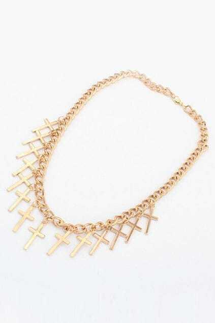Crosses Shaped Golden Necklace