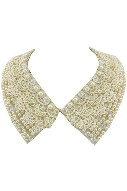 Pearl Beaded Lace Collar