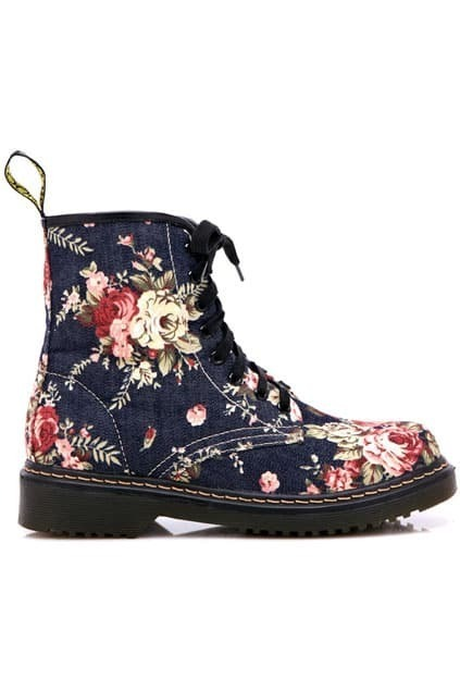 Floral Upper Lace Up Blue Martin boots