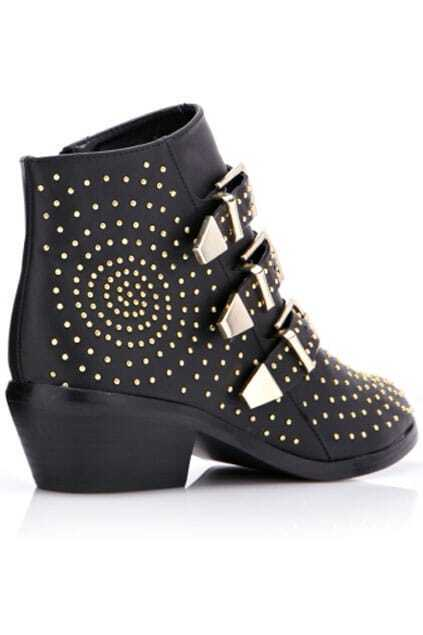 Stud Embellishment Buckle Straps Black Boots